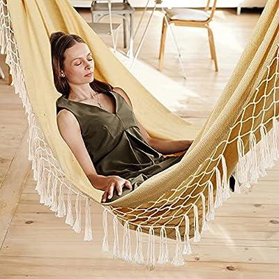Amazon - 60% Off on Indoor Hammock Garden Cotton Hammocks with Tassels 2 Person Durable Swing with Travel Bag