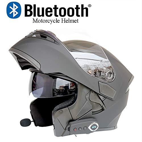 XYL Motorrad-Kopfhörer, modularer Spiegel, Antibeschlag, DOT Zertifiziert, drehbare Kopfhörer, Bluetooth + FM-Lautsprecher, eingebauter Bluetooth-Kopfhörer mit Mikrofon X-Large Grau