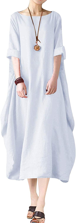 BONESUN Women Plus Size Batwing Linen Cotton Loose Kaftan Casual Dress