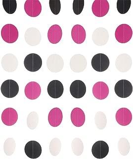 MOWO Paper Garland Circle Dots Hanging Decoration, 2.5'' in Diameter,10-feet (Black,Rose Pink,White, 2pc)