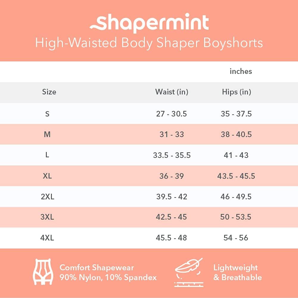 Shapermint High Waisted Body Shaper Boyshorts Tummy Control Waist Slimming and Back Smoothing Shapewear for Women Plus Size