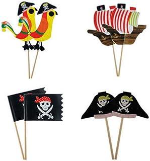 Amosfun Decorazioni per Toppers Cupcake a Tema Pirata 48pcs per Decorazioni per Torte per Bambini Festa di Compleanno Forniture Toppers per Bambini