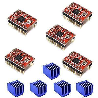 Youmile 5PACK Stepper Motor Driver Module A4988 For Reprap 3D Printer StepStick Stepper Motor Driver Module with Heatsink for arduino