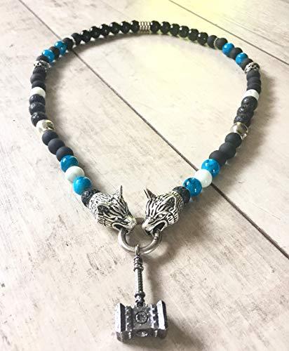 Wikinger-Kette: Perlenkette mit Wolfsverschlüssen | Ketten-Anhänger: Thors Hammer/Mjolnir | Rocker-Schmuck | Biker-Schmuck | Wikinger-Schmuck