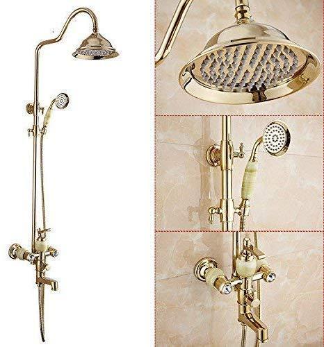 Tocador de baño Grifo del lavabo Dispositivo de ducha Juego de ducha de lluvia Boquilla de mano de latón dorado Termostático Agua fría y caliente Lavabo del baño Grifo del lavabo Grifo del baño