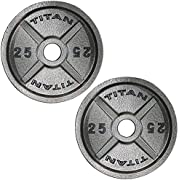 Titan Cast Iron Olympic Weight Plates | 25 LB Pair
