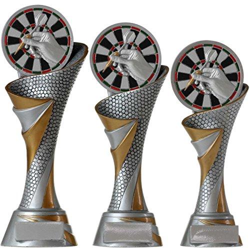 KDS FG Pokal L Trophäe Dart Darts mit Emblem 70 mm aus Resin Kunstharz massiv ca. 26 cm hoch