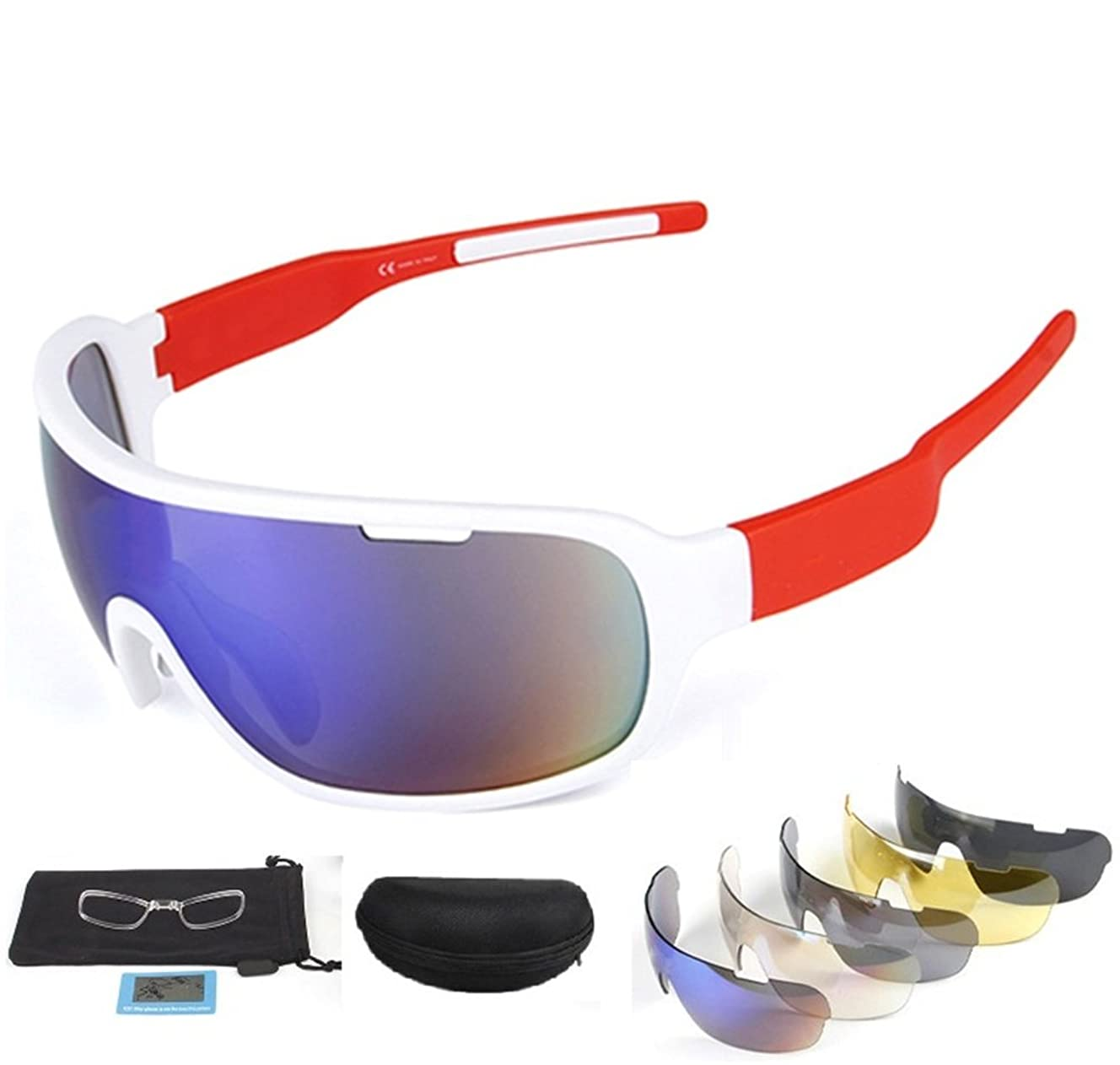 Runspeed Polarized Sports Sunglasses Cycling Glasses UV400 with 5 Interchangeable Lenes for Men Women Running Driving Fishing Golf Baseball Googles