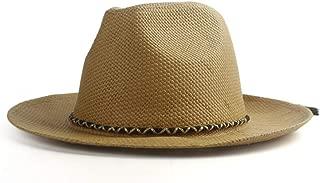 Sunhat Sun Hat Fashion 2019 Summer Hat Ladies Straw Hat with Rope Tassel Folding Sun Hat Large Men's Beach Hat Panama (Color : Coffee, Size : 56-58cm)