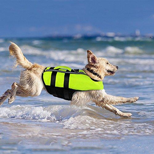 NAMSAN Hundeschwimmwesten Schwimmweste für Hund Tragbar Aufblasbar Rettungswesten für Kleine/Mitte/Groß Hunde, Grün-L
