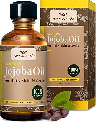 Aroma King 100% Pure Organic Jojoba Oil - Natural Unrefined, used to Moisturizer Face, Hair, Skin, Nails, Cuticles, Stretch Marks & Sensitive Skin 4 Fl Oz. (120 ML) (4 Fl Oz)
