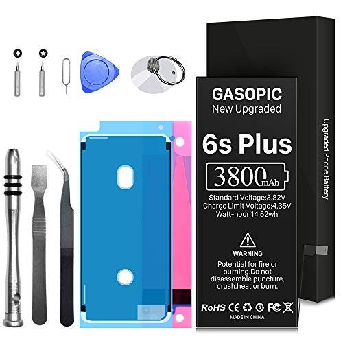 3800mAh Battery for iPhone 6S Plus, High Capacity Battery Replacement A1634 A1687 A1699 with Complete Repair Tool Kits and Adhesive Strips (NOT for 6S/6Plus) 24-Month Warr
