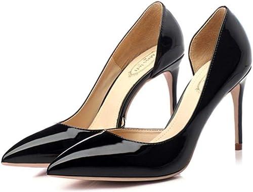 FUTER Zapato de Corte Calzado Individual mujer PU + Lado de Goma Vaca Boca Puntiaguda Boca Delgada Tacón Fino 8.5   10cm Tacones negros (Color   negro, Talla   10CM EU38 UK5.5 CN38)