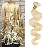 Elailite Extensiones Cortina Pelo Natural Brazilain Human Hair Bundles sin Clip Cabello Humano Brasileño Rizado 60cm 100g #613 Rubio Claro
