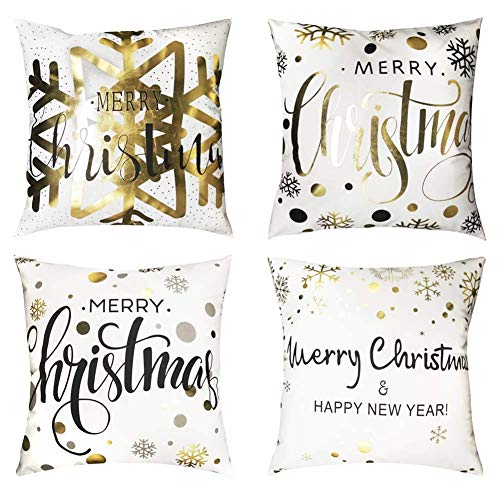 SLRMKK 4 Pack Christmas Pillow Covers,Hot Stamping Pillow Cases Merry Christmas Snowflake Christmas Cushion Covers Home Decoration Xmas Gifts,18' x 18'