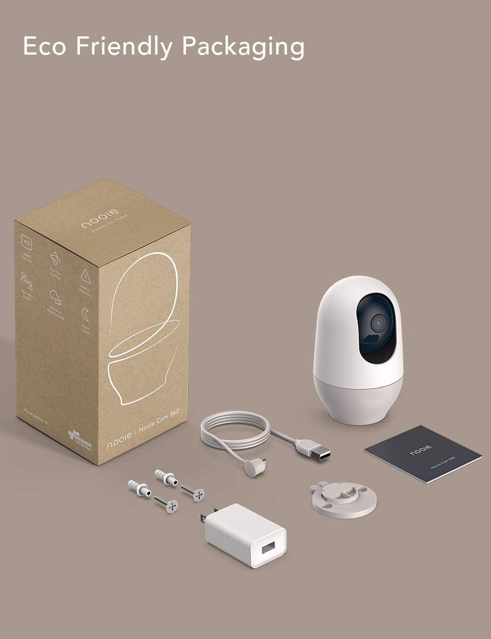 Nooie Baby Monitor, WiFi Pet Camera Indoor, 360-degree Wireless IP Camera, 1080P Home Security Camera, Motion Tracking, Super IR Night Vision, Works with Alexa, Two-Way Audio, Motion & Sound Detection : Camera & Photo