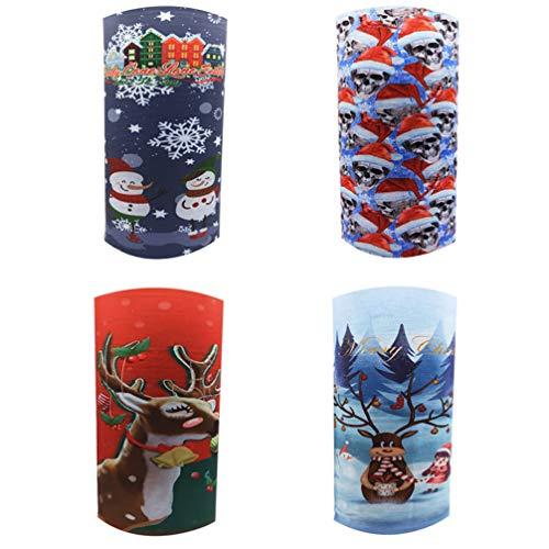 ABOOFAN 4St. Schlauchschal Weihnachten Gesichtsmaske Staubschutz Schlauchtuch Halstuch Bandana Mundmaske Magisches Stirnband für Kinder Outdoor Radfahren Weihnachten Geschenke Zufällig