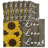 Juego de Mantel Individual de Madera de Girasol Amarillo de 6 tapetes de Mesa Lavables Live Love Laugh Resistentes al Calor para Cocina Comedor Decorativo
