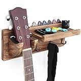 Bikoney Guitar Wall Hanger Guitar Holder Wall Mount Bracket Hanger Guitar Wood Hanging with Pick Holder and 3 Hooks Carbonized Black, [U.S. Patent]