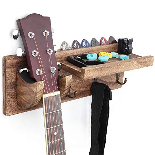 Bikoney Guitar Wall Hanger Guitar Holder Wall Mount Bracket Hanger Guitar Wood Hanging with Pick Holder and 3 Hooks Carbonized Black