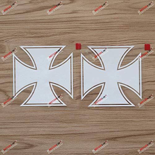 2 x weißes Eisernes Kreuz Aufkleber Aufkleber Auto Vinyl Deutsche Bundeswehr e