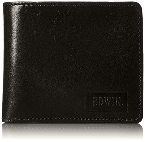 Edwin] Two-fold Wallet Italian Leather Embossed banknote Storage Coin Storage Card Pocket 22219021 60. Black