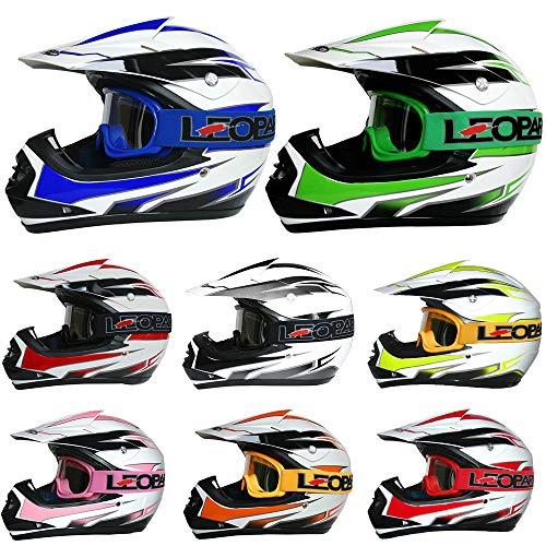 Leopard LEO-X16 {Kinder Motorrad Helm M(51-52cm) + Brille} Rosa Kinder Motocrosshelme Mädchen Jungen Dirt Bike Fullface MX Helm