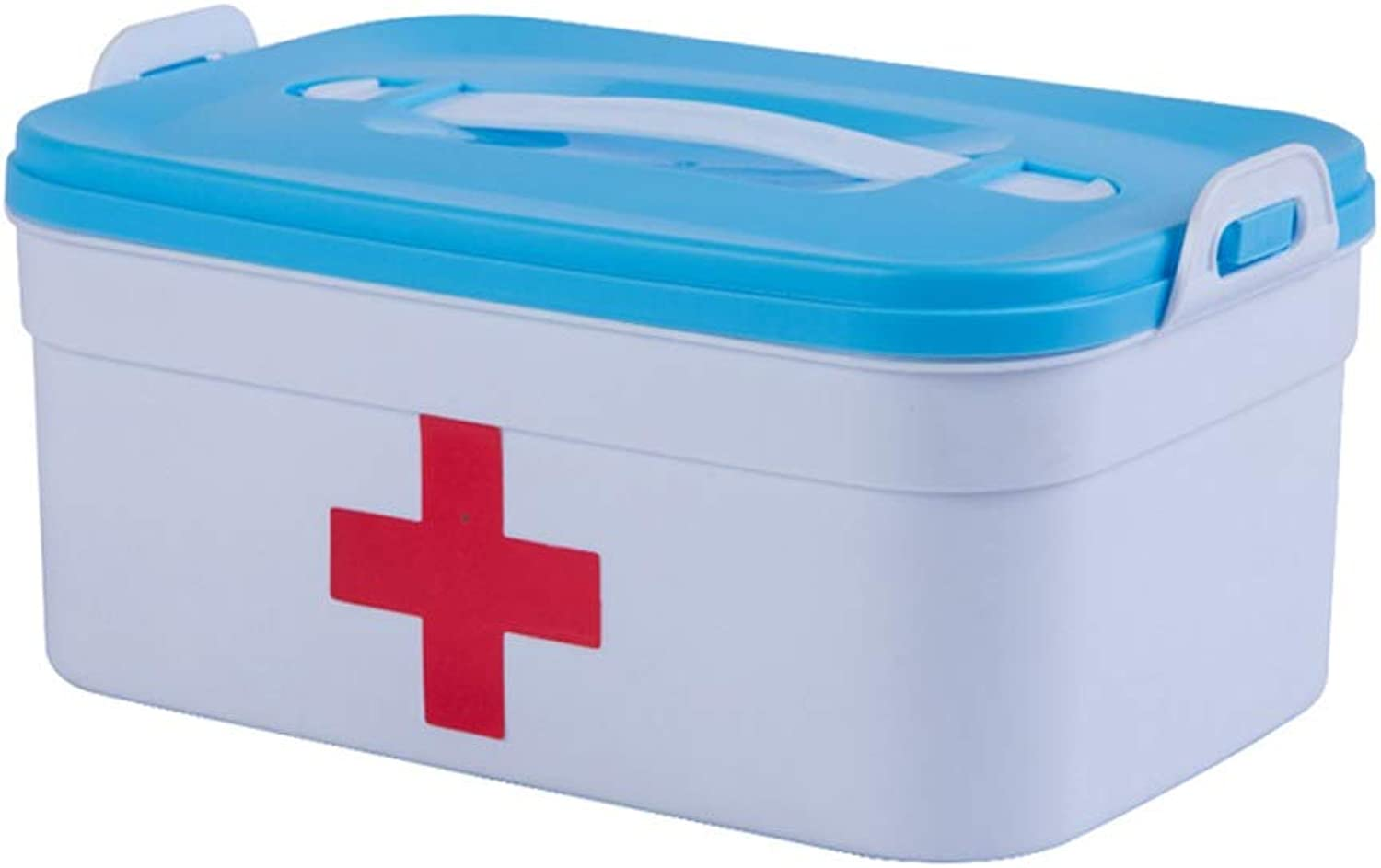 LCSHAN Simple Medicine Box Home Double Layer Medical Storage Box Plastic Multi-Function (color   bluee)