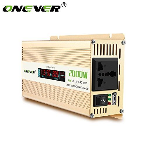 ONEVER 2000W / 2400W (picco) Car Power Inverter convertitore DC 12V a 220V AC Converter Power Supply Onda di seno modificata di alimentazione con porta USB/Universal Plug/Intelligent Fan