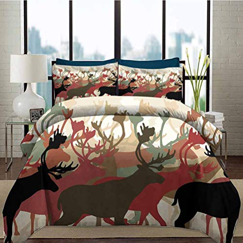 Duvet Cover Set Antler Decor Ultra Soft, Breathable and Durable Reindeer Caribou Herd Migrating Colorful Silhouettes Wildlife Nature Theme Decorative 3 Piece Bedding Set with 2 Pillow Shams, Full Size