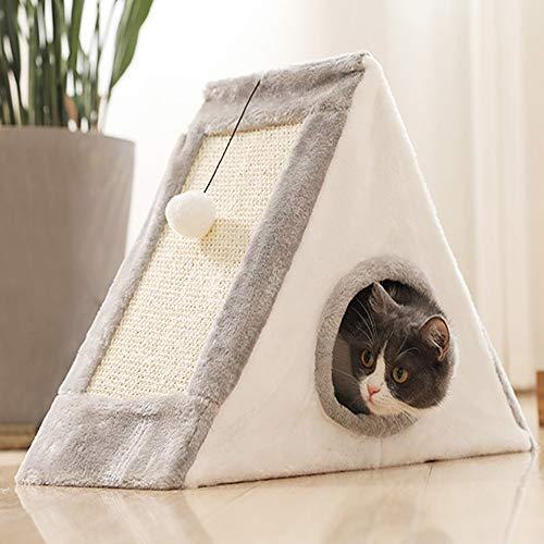 Semaxy 猫ハウス おしゃれ ペットベッド 爪とぎ兼ベッド 寝具 ガリガリ三角 折り畳み 猫グッズ ボール付き ストレス解消 運動不足 屑が出にくい お手入れ簡単 ねこハウス 優雅なペットの巣 (L,グレー+ホワイト)