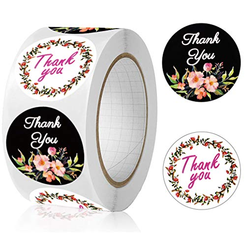 """Thank You Stickers Roll,2 Flowers and Font Design,500Pcs 1.5"""" Round Thank You Sticker for Small Business,Thank You Labels Suitable for Envelope,Bubble Mailer,Kraft Paper Bag Sealing&Decoration"""