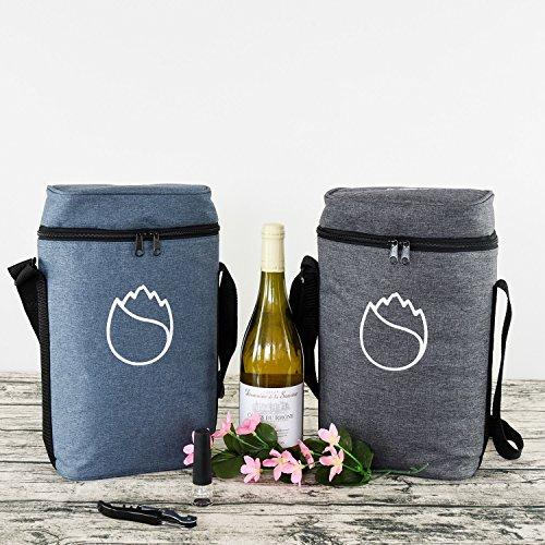 Freshoreワイントートとキャリア2ボトルクーラーバッグワインギフト-調節可能なストラップ(クラシックグレー)を使用したクーラーレストランのおしゃれなデザイン