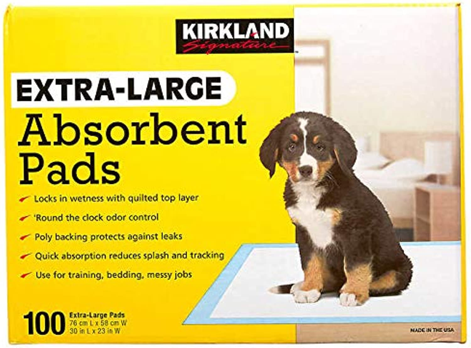 Kirkland Signature Expect More ExtraLarge Absorbent Pads, 30 in L X 23 in W, 100count