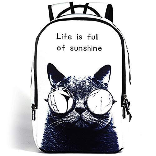 WHSS Mochila al aire libre con patrón de gato para estudiantes de viaje de negocios, bolsa de poliéster, adecuada para estudiantes universitarios, hombres y mujeres, transpirable bolsa de hombro