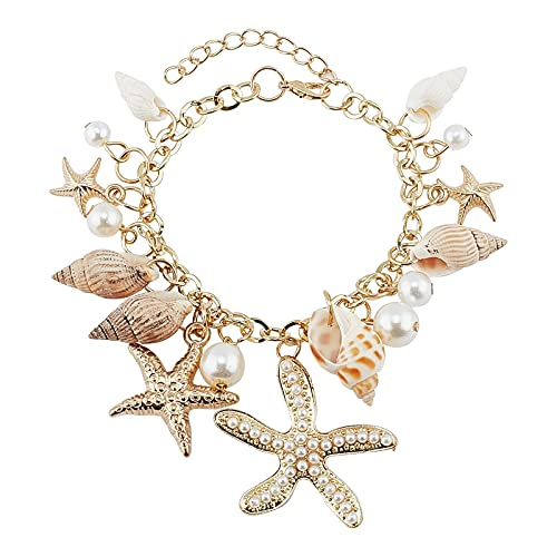 PH PandaHall Fashion Sea Shell Starfish Bracelets Faux Pearl Charm Bracelets Golden Shell Beads Bracelets Mermaid Costume Jewelry for Women Adjustable Hawaiian Jamaican Ankle Bracelets Foot Jewelry
