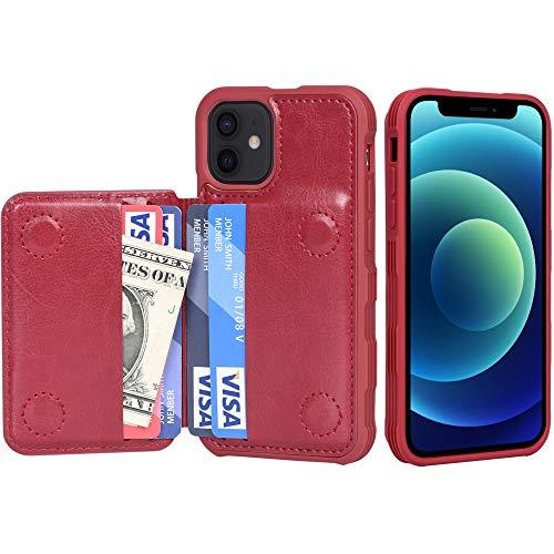 Migeec Funda para iPhone 12 Mini - Funda Tipo Cartera con Bolsillos para Tarjetero [a Prueba de Golpes] Funda con Tapa Trasera para iPhone 12 Mini de 5,4 Pulgadas - Rojo