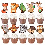 Woodland Creatures 30 pcs Cupcake Toppers and 30pcs Wrappers for Forest Animals Theme Decorations,Woodland Theme Baby Shower Birthday Party Supplies