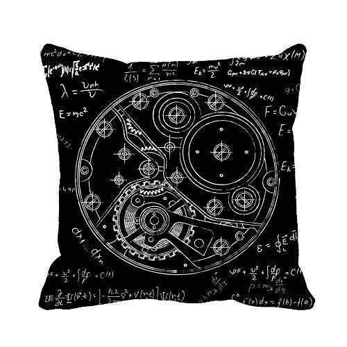 N\A Throw Pillow Cover Relojes mecánicos Engranajes Dibujo del Dispositivo Interno como Funda de Almohada Funda de Almohada Cuadrada Decorativa para el hogar Funda de cojín