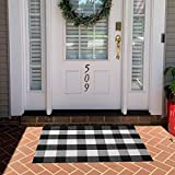 Buffalo Plaid Door Mat 27.5 x 43 Inch Check Rug Black and White Cotton Hand-Woven Indoor or Outdoor Rugs for Layered Door Mats Washable Carpet for Front Porch/Kitchen/Farmhouse/Entryway