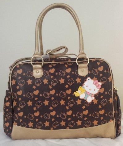 Exclusive limitierte Hello Kitty Wickeltasche/Handtasche braun gold - Henkel und Schultergurt