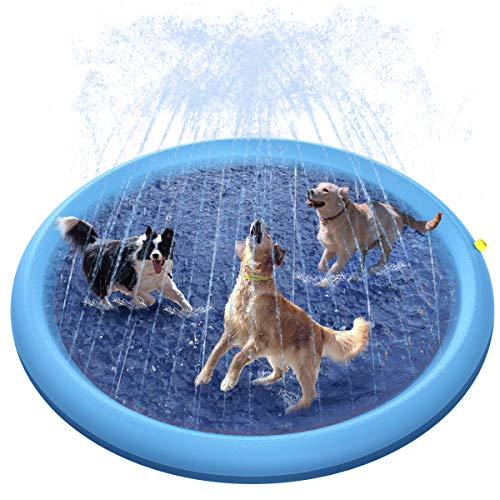 Peteast Splash Sprinkler Pad for Dogs Kids, Dog Bath Pool 67in Thickened Durable Bathing Tub Pet Summer Outdoor Water Toys