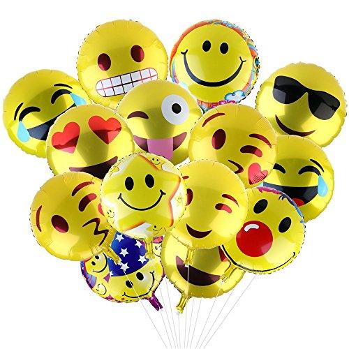 Yizhet Globos de Helio Emoji Globos Expresiones Faciales Decoracion con Globos Fiesta de Cumpleaños del Festival Decoración y Accesorio de Fiesta(24 Pcs)