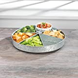 "KOVOT Galvanized Rotating Lazy Susan With (6) Sections | Rustic & Country Style Decor Organizer & Server | Measures 16.5"" X 16.5"" X 2"""