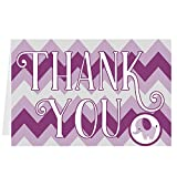 Folded Baby Shower Thank You Cards - Purple Lavender Gray Chevron Elephant Baby Girl Design (25 Count with Envelopes)