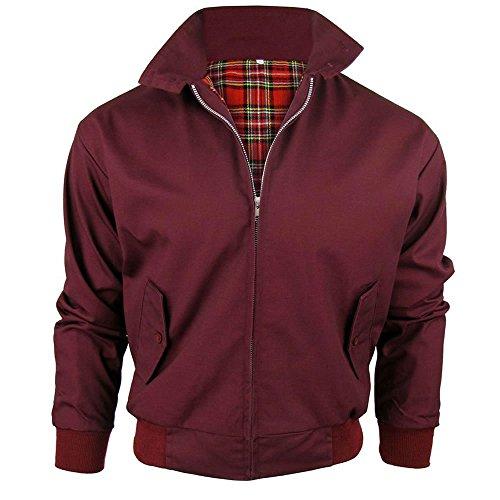 Harrington-Jacke mit kariertem Futter, gefertigt in Großbritannien, Herren, mit Reißverschluss, klassische Bomberjacke Gr. XL, BURGUNDY (WINE)