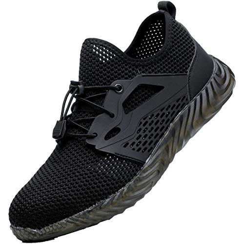 SUADEX Indestructible Steel Toe Shoes for Men Women Safety Shoes Construction Composite Toe Work Shoes Pure Black