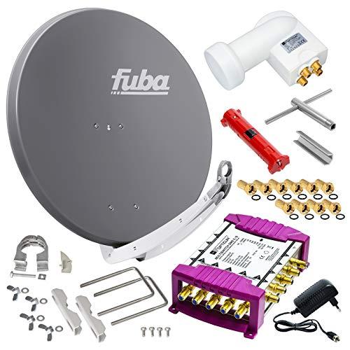 Fuba 8 Teilnehmer Digital SAT Anlage 85cm Schüssel DAA850A Anthrazit + Opticum LNB 0,1dB Full HDTV 4K + PMSE Multischalter 5/8 + Montage- und Aufdreh-Set + 24 Vergoldete F-Stecker Gratis dazu