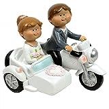 Figura Tarta Novios Moto con sidecar...