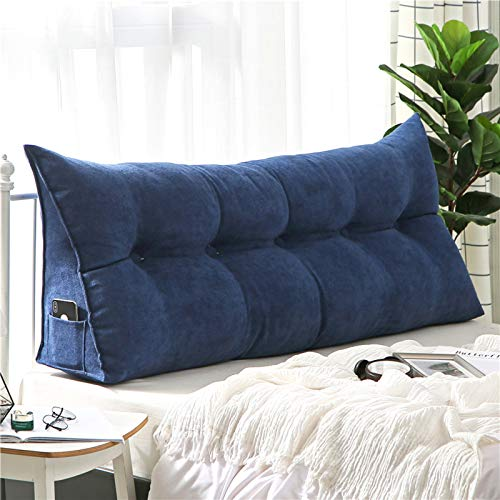 xdvdfvbdf Triangular Reading Pillow Large Bolster,Solid Color Headboard Backrest Bedroom Bay Window Pillow,Great As Backrest For Books Or Gaming-Blue 100x50cm(39x20inch)